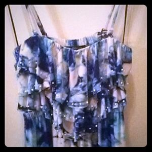 Style & Co, Tie Dye Maxi Dress - Blue, White